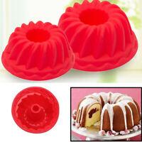 2pcs Spiral Silicone Bundt Swirl Ring Cake Baking Tin Mold Mould Pan Bakeware