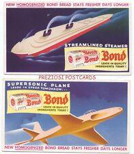 2 FUTURISTIC BOND BREAD BLOTTERS - Streamlined Steamer & Supersonic Plane ca1950