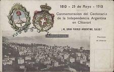ARGENTINA CONMEMORACION DEL CENTENARIO DE LA INDEPENDENCIA EN CHIAVARI COLOMBO