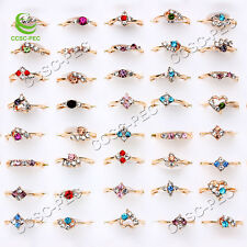 Wholesale Lots 10pcs Mixed Exquisite Crystal Rhinestone Gold filled woman Rings