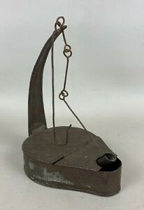 Antique Primitive Tin Grease or Whale Oil Betty Lamp