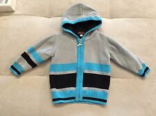 Baby Rabbit Moon Boy Blue Gray Knit Cotton Sweater Lined Size 9-12 Month Hood