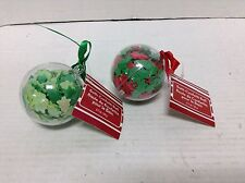 2 Bath Confetti Ball Christmas Clear Ornaments Bathroom Tub Trees Stars Green