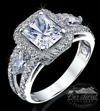 2.5 ct Radiant Cut Ring Top AAAAA CZ Imitation Moissanite Simulant SS S 5