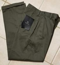 NWT Claiborne Boys Chino Flat Front Cuffed Pants Olive 100% Cotton Size 14 26X28