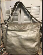 Coach Leather Zoe Hobo Shoulder Handbag Silver Metallic Hobo12669 Distressed