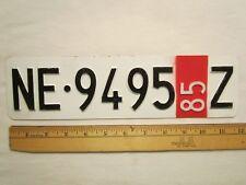 LICENSE PLATE Car Tag 1985 SWITZERLAND NE 9495 Z [Z227t]