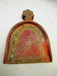 Antique Wooden Hazal Dustpan Hand Painted Supedi Cleaning Utensil Colorful Rare