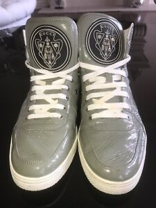 Grey Patent Leather Gucci Sneakers, Used, Great Condition