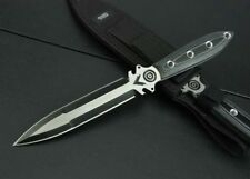 New 440 Double Blade Micarta Handle Boot Dagger Survival Hunting Knife VTH122