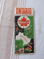 MAP ONTARIO CANADA SUPERTEST GAS SERVICE STATION VINTAGE ADVERTISING 1962