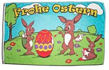 Fahne Flagge Frohe Ostern Hasenfamilie - 90 x 150 cm Hissflagge
