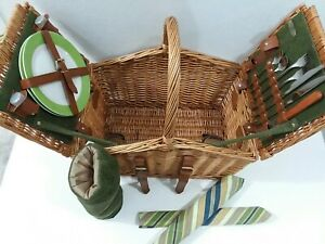 Pinic Time Pinic Basket Woven Wicker W/ Genuine Leather Straps