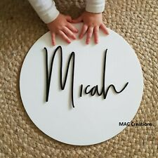 Acrylic Name Wall Door Plaque Sign - Personalised - Birth - Round - Mirror -