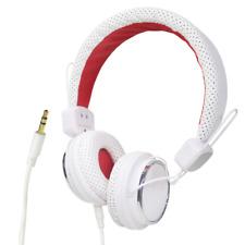 Headphones Stereo Adjustable White Red 3.5mm Jack iPhone Tablet Smartphone iPad