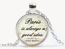 Vintage Cabochon Glass Necklace Silver Charm pendants(Paris good idea
