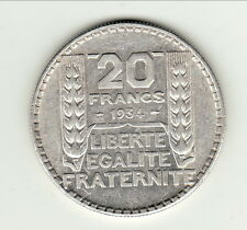 20 FRANCS TURIN ARGENT 1934 SUP  type turin argent cote 40 euro