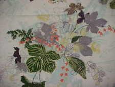 Vintage 1950's Cotton Barkcloth Fabric Cafe Curtain Drape Panel Leaf Pattern