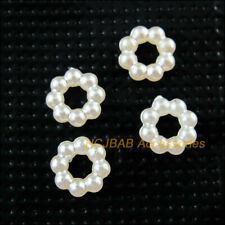 200Pcs Pearl White Round Circle Acrylic Plastic Spacer Beads Charms 7mm