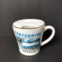 Vintage Nebraska Centennial Coffee Mug Mustache Cup Porcelain 100 Years