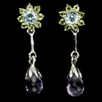 Unheated Briolette Amethyst Peridot Blue Topaz 925 Sterling Silver Earrings