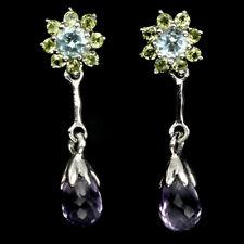 Unheated Briolette Amethyst Peridot Blue Topaz 925 Sterling Silver Earrings