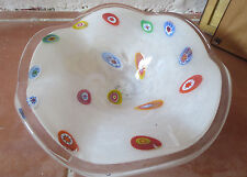 Vintage Murano Blown Glass Dish  Bowl Millefiori White