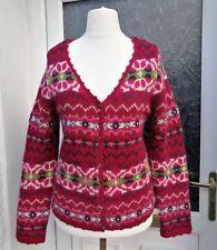 LAURA ASHLEY Magenta Pink Fair Isle Knit Lambswool V-Neck Button Cardigan XL 16?
