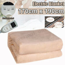Electric Heated Blanket Dual Control Timing Temperature Adjust Comfort Queen Siz