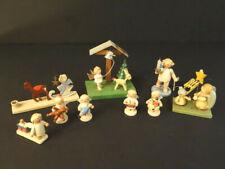 All Original Herzgebirge 9 Handpainted Antique Wooden Angels Christmas Figures