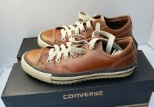 Converse All Star Shoes Sneakers Brown Leather SkateBoarding Men 7 Women 9 40