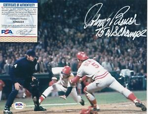 JOHNNY BENCH  CINCINNATI REDS  1975 WS CHAMPS  PSA AUTHENTICATED  SIGNED 8x10