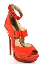 Jimmy Choo  Womens Buckle Front Platform Pumps Orange Leather Size 39, 9 LL19LL