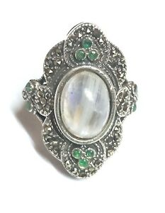 White Rainbow Moonstone & Emerald Gems Thai Jewelry 925 Sterling Silver Ring