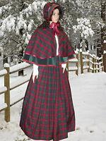 Ladies Victorian 3pc tartan  gentry costume - fancy dress. Burgundy & green