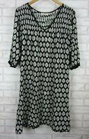 Holiday Shift dress Black, white print V-neck 3/4 sleeves Sz M