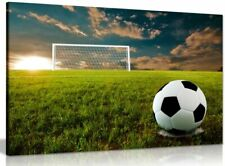 Football On An Open Field Canvas Wall Art Picture Print