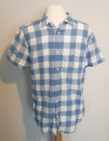 Wrangler Mens Casual Shirt L slim fit 40/42 short Sleeve Blue white Check Cotton