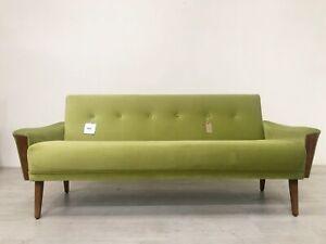 DANISH INSPIRED VINTAGE MODEL 60 3 SEAT LOUNGE SOFA SETTEE IN SAGE GREEN VELVET