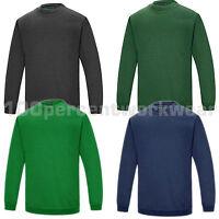 Aqua Premium Heavyweight Polycotton Plain Crew Neck Sweatshirt Jumper Work Wear