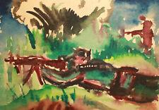 Vintage expressionist landscape portrait watercolor painting shooting soldier