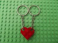 Nuevo Lego Rojo Llavero Corazón llavero Llave Cadena para Amigos Amistad Amor