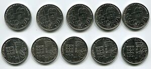 Portugal Pintor Amadeo De Souza Cardoso 1987 100 Escudos Coin X 5 Piece Lot