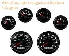 6 Gauge Set 200mph Speedometer Tachometer Fuel Temp Volts Oil Pressure Usa Stock