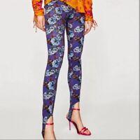 Zara Floral Stirrup High Waisted Purple Leggings Womens SIze Small
