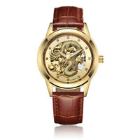 Steampunk Transparent Skeleton Automatic Leather Band Dress Men Mechanical Watch