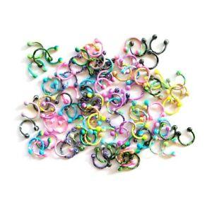Horseshoe Ring Spike Ball Stainless Steel Colourful Septum Ear Body Piercing 8mm
