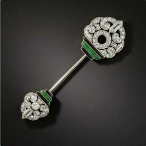 14K White Gold Over Onyx & Diamond 2.60 Ct Party Engagement Brooch Pin Unisex