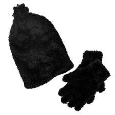 Girls Fuzzy Black Plush Hat & Gloves Beanie Set