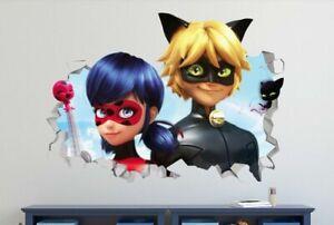 Ladybug Miraculous Cat Noir Custom Wall Decals 3D Wall Stickers Art LS72
